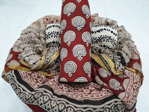 Maroon and off white cotton suit with zari border