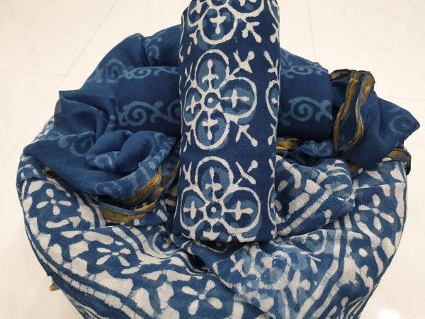 Batik cerulean color cotton suit with zari border