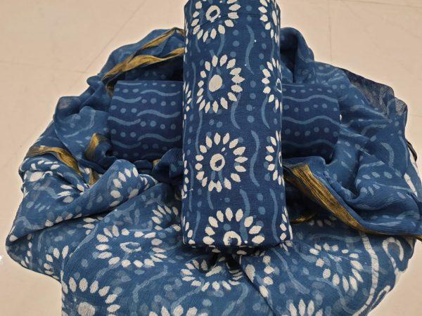 Cobalt blue color bagru print cotton suit with zari border