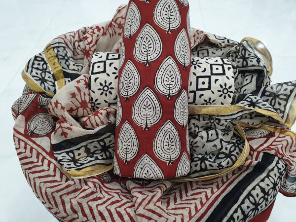 Maroon and white party wear bagru print cotton suit