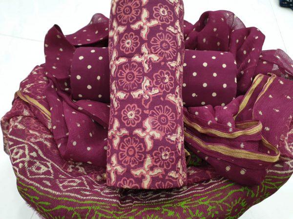 Plum purple color zari border cotton suit party wear