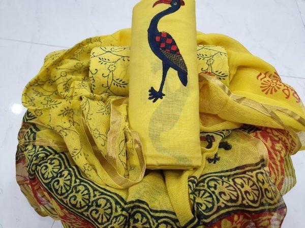 Yellow crane print zari border suit in pure cotton