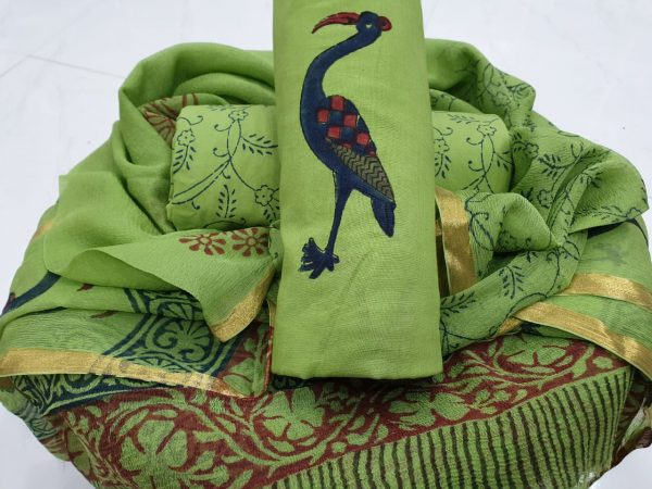 Green crane print zari border suit in pure cotton