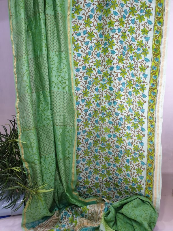 Emerald and beige chanderi silk suit with cotton bottom