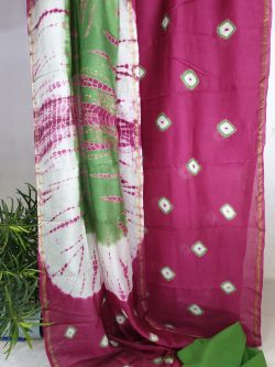 Red-violet and jungle green shibori print chanderi silk suit with cotton bottom