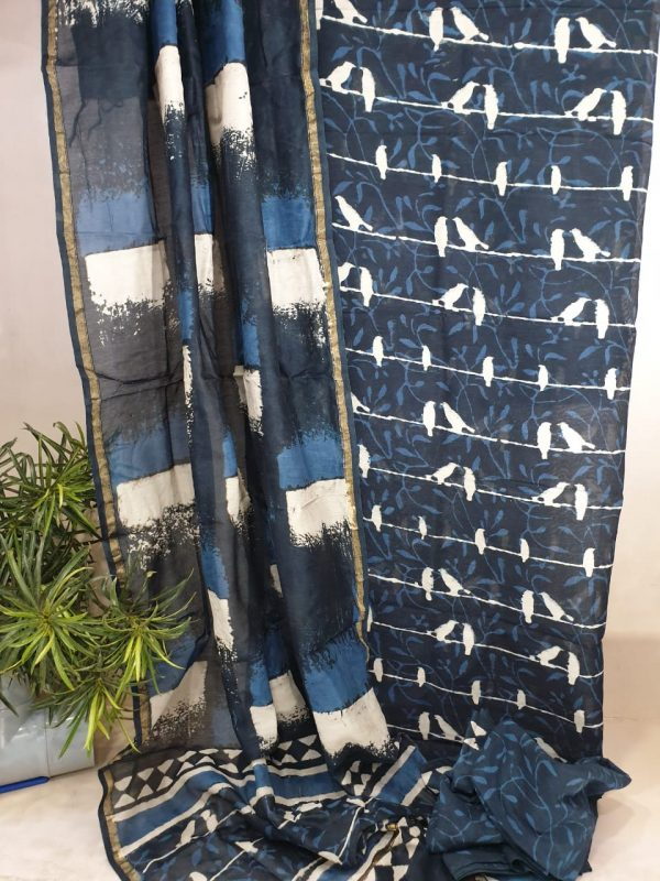 chanderi silk suit with cotton bottom prussian blue and white