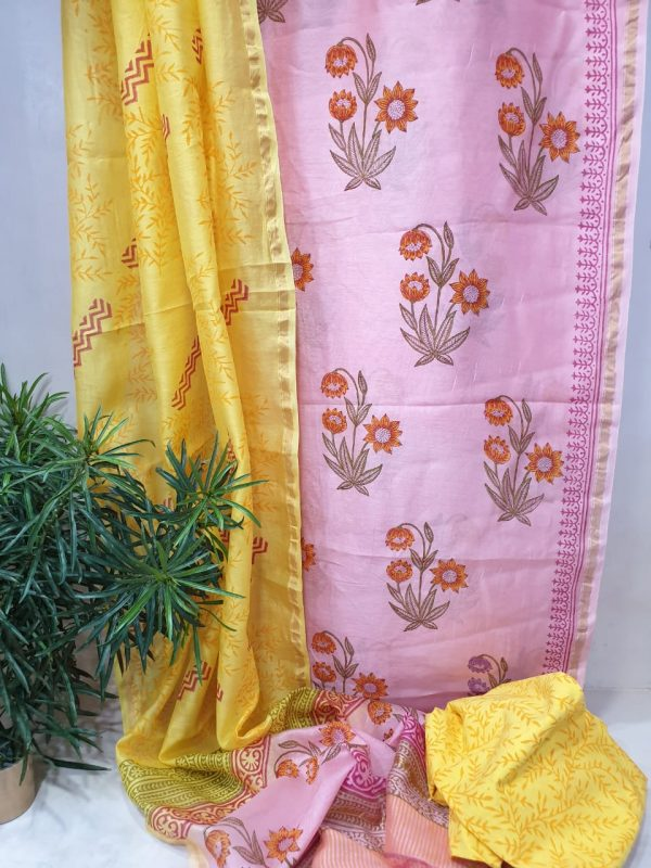 Gold and mauve mughal print chanderi silk suit with cotton bottom