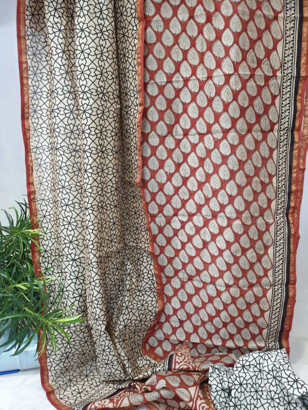 Sangria and white bagru print chanderi silk suit with cotton bottom