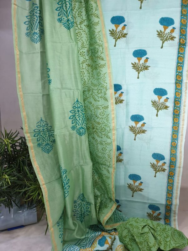 Cyan and jungle green mughal print chanderi silk suit with cotton bottom