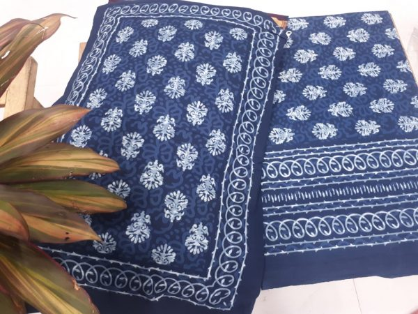 Navy blue Jaipuri Pure Cotton double size bedspread with 2 pillow cover