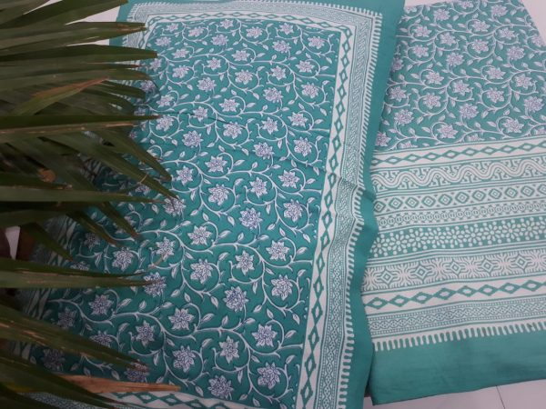 Teal pure Cotton double size bedsheet 90/108 inch with two pillow cover