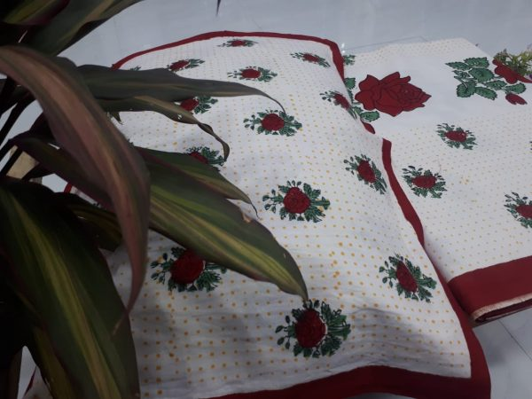 white mughal print double size bedspread 90/108 inch with 2 pillow cover
