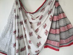 White mughal print cotton mulmul saree with blouse