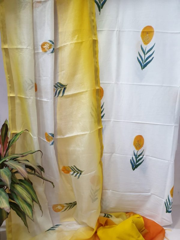 Yellow white mugal print Cotton suit kota silk dupatta
