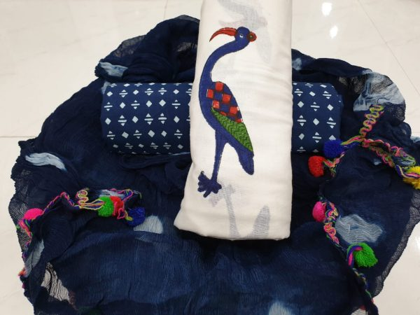 Prussian blue and Ivory cran mughal print pompom cotton suit