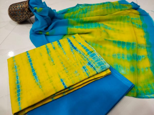 Azure and gold shibori cotton suit with pure chiffon chunni