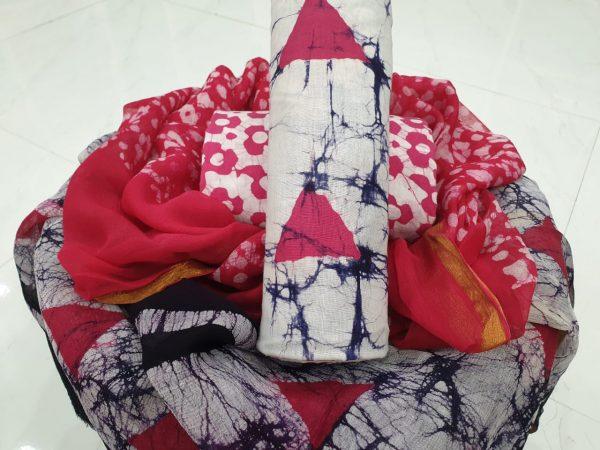 Crimson and white batik print zari border pure chiffon dupatta