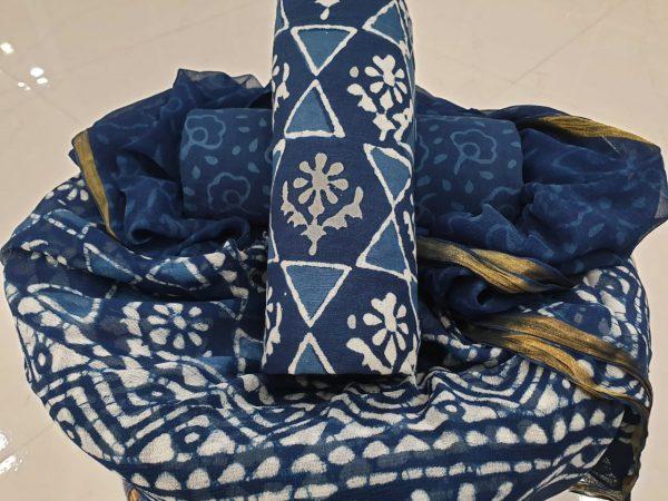 Cobalt blue and white batik print zari border pure chiffon dupatta