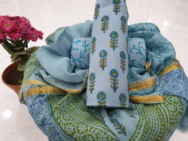 Blue booty print zari border cotton suit set