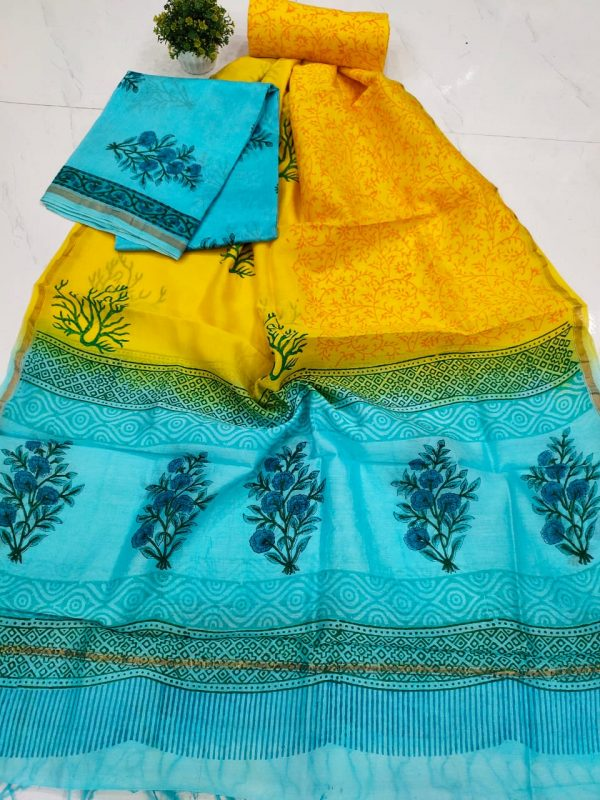 Amber and baby blue mughal print chanderi silk suit with cotton bottom
