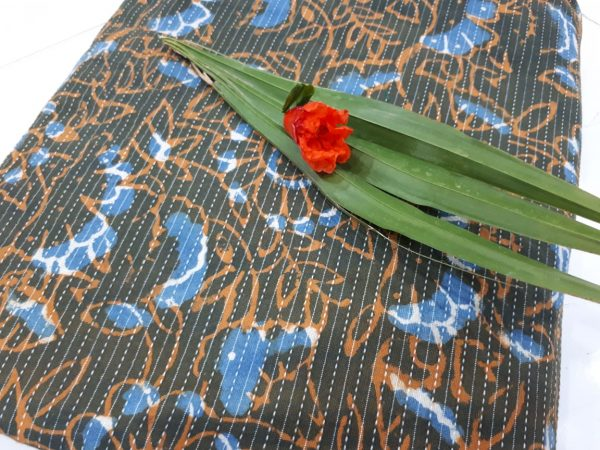 Olive brown running kantha cotton material