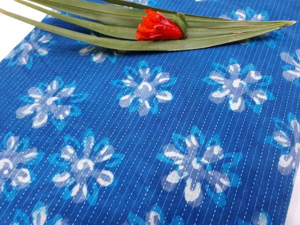 Blue Kantha cotton running fab with white floral print