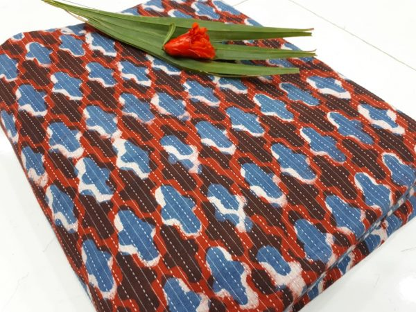 Cotton kantha running fabric in brownish red color
