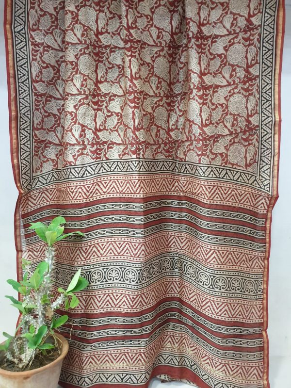 Chanderi saree burgundy color with blouse