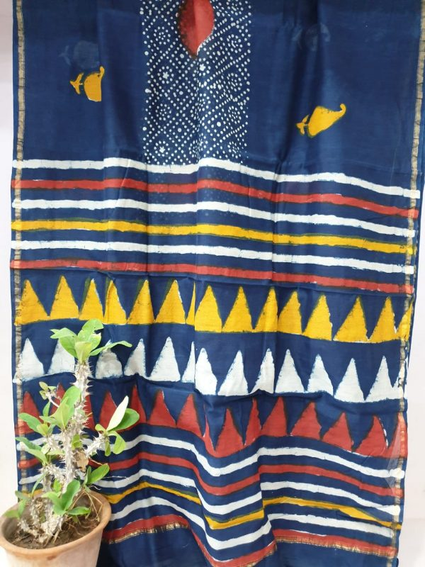 Blue chanderi saree with blouse