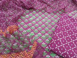 Cotton suit set with kota silk dupatta color Orchid