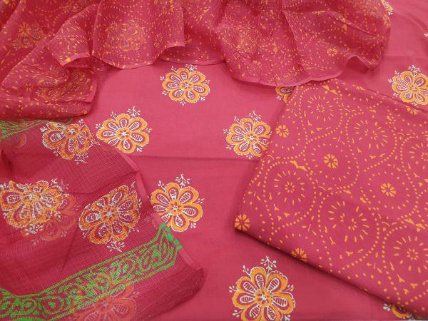 Cotton suit set with kota doria dupatta color Raspberry