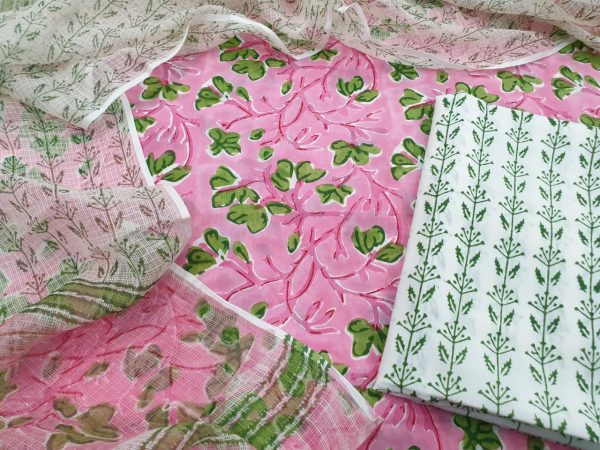 Cotton suit set with kota doria dupatta color pink white