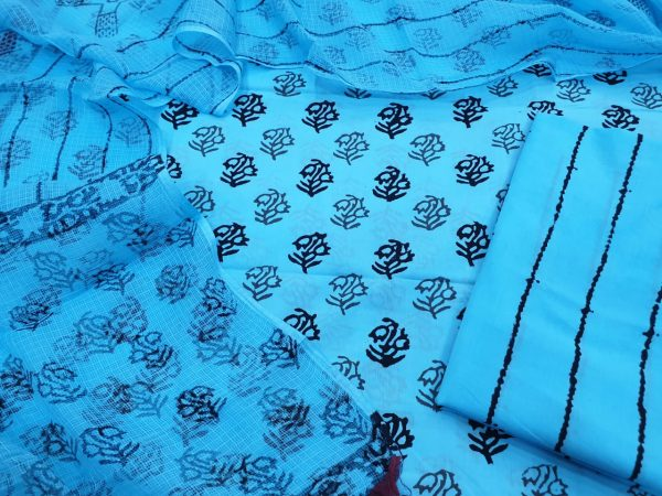 Cotton suit set with kota doria dupatta color azure