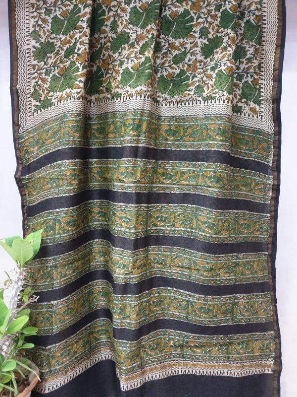Green rapid print chanderi silk saree