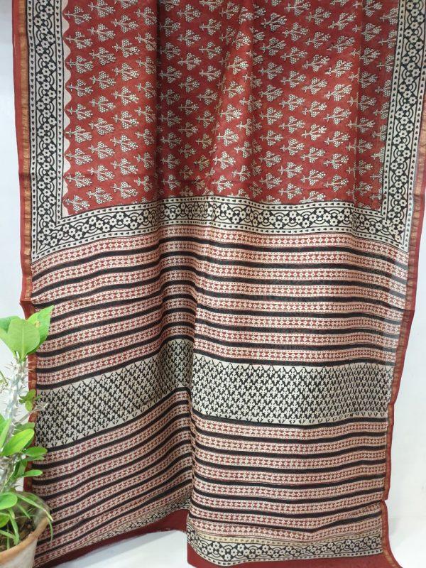 Natural bagru print red black chanderi saree