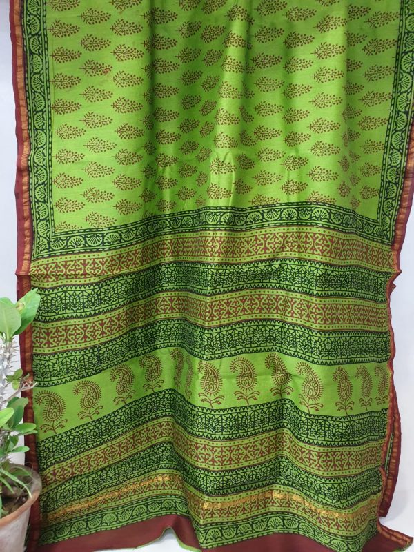 chanderi saree green color with blouse