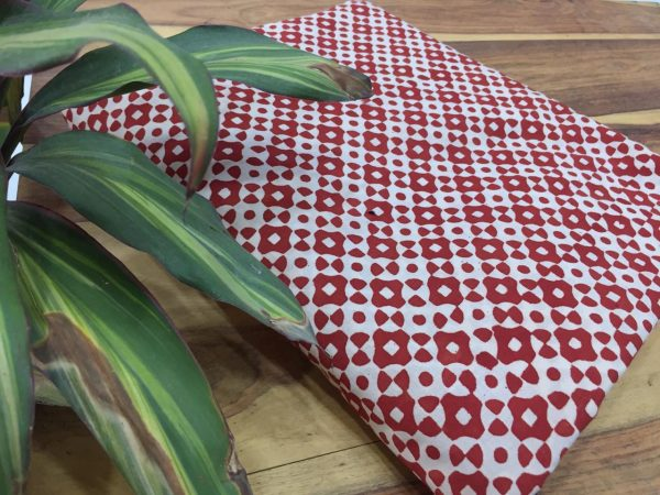 Red pigment checks print cotton running material for kurties