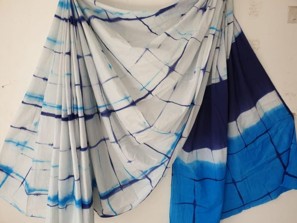Azure blue and white cotton saree with blouse