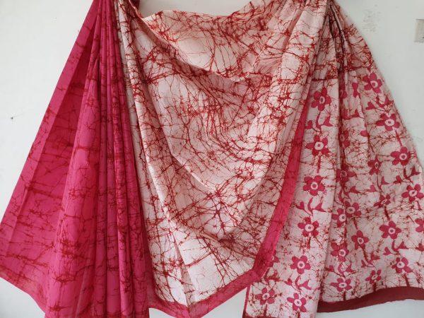Pink batik print cotton saree with blouse