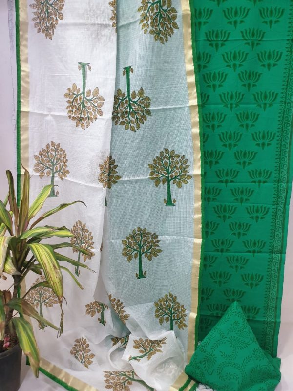 Green cotton suit with white mugal print kota silk dupatta