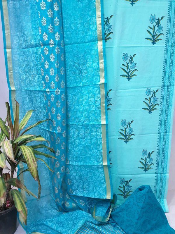 Azure blue cotton suit set with kota silk dupatta
