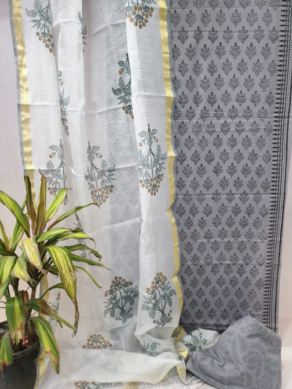 Grey cotton suit set with white mugal print kota silk dupatta