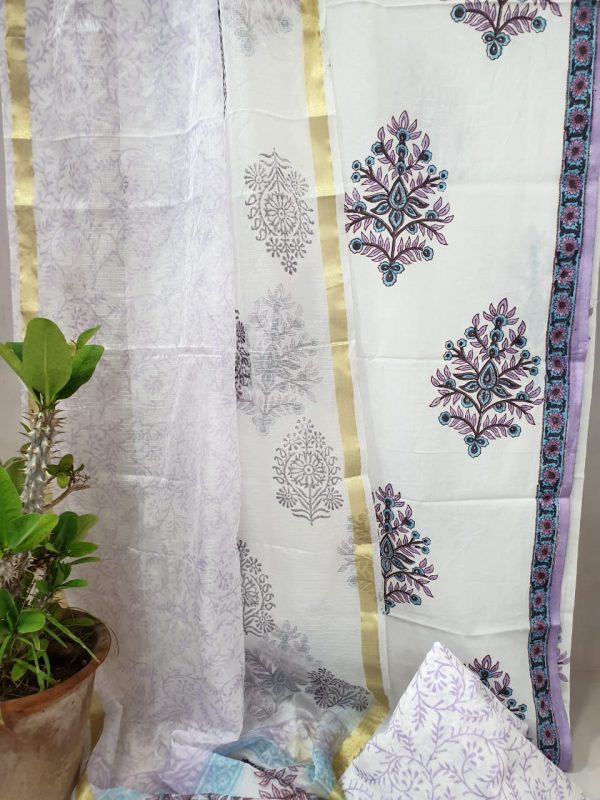 White mugal  print Office wear cotton suit with kota silk dupatta