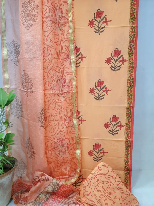 Apricot mugal print Office wear cotton suit with kota silk dupatta