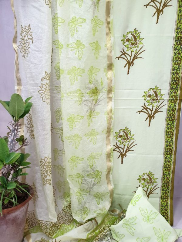 Off white and olive green Office wear cotton suit with kota silk dupatta