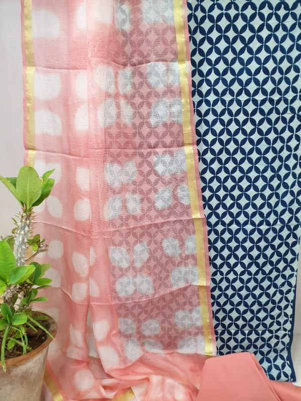 Apricot and blue Office wear cotton suit with kota silk dupatta