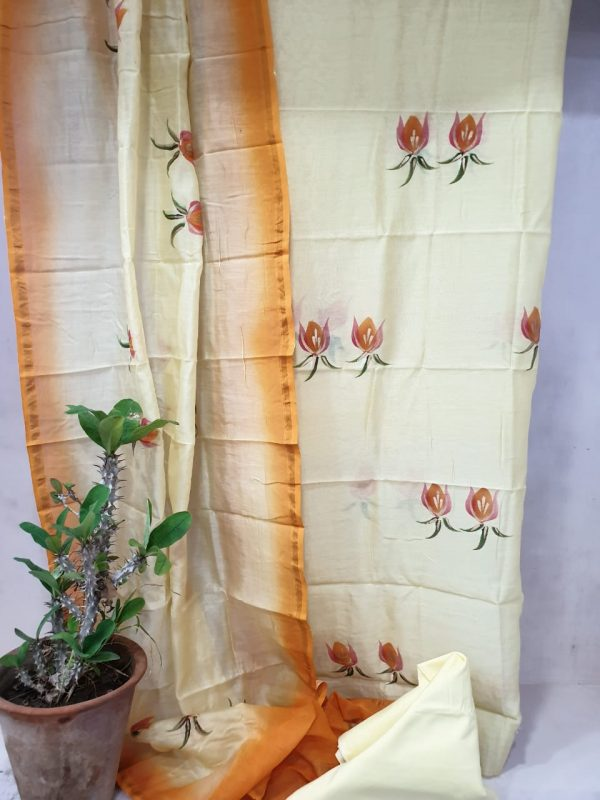 Orange and off white mugal print party wear chanderi suit