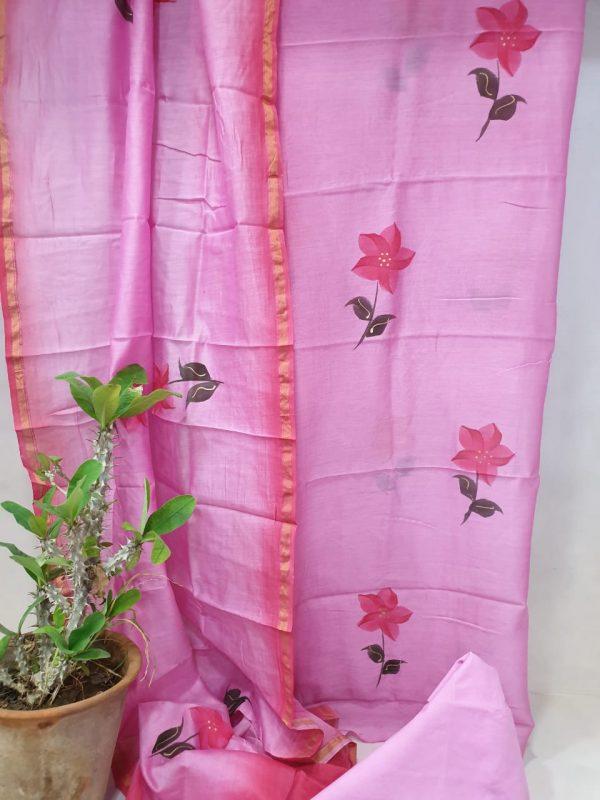 Magenta pink floral mugal print chanderi suit