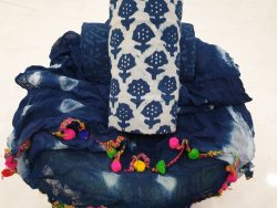 Natural indigo blue and white booty print pompom cotton suit set