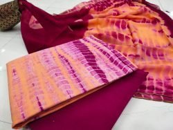 Shibori print yellow maroon zari border cotton suit